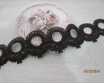 1y-Embroided Lace Trim/NV98-Cotton Lace Trim/Dark Brown Lace Trim