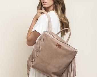 """Fringe Leather Backpack, Blush backpack, School bag, 17"""" Laptop Backpack, Fringe leather bag, Handmade Backpack, Sale!"""
