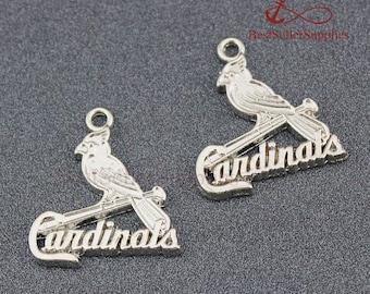 10 PCS, St. Louis Cardinals Pendant National League NL of Major League Baseball MLB Sports Team Oxidized Silver Tone 24*22mm