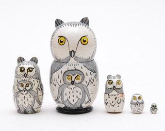 Owl Nesting dolls matryoshka babushka russian nesting doll 5 pc Free Shipping plus free gift!