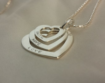 Sterling silver Tri-heart Love-Hope-Faith Necklace