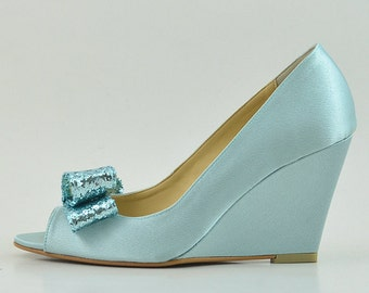 Something Blue Wedding Shoes Glitter Wedges Light Robin