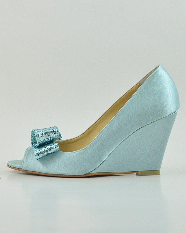 Something Blue Wedding Shoes Glitter Wedges