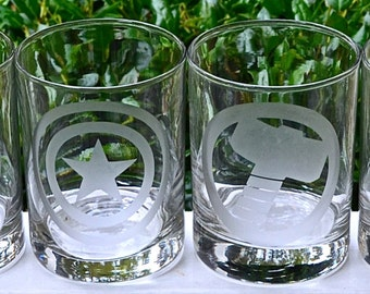 Avengers Inspired Etched Rocks Glass, Black Widow, Hawkeye, Hulk, Iron Man, Thor, Captain America Glasses