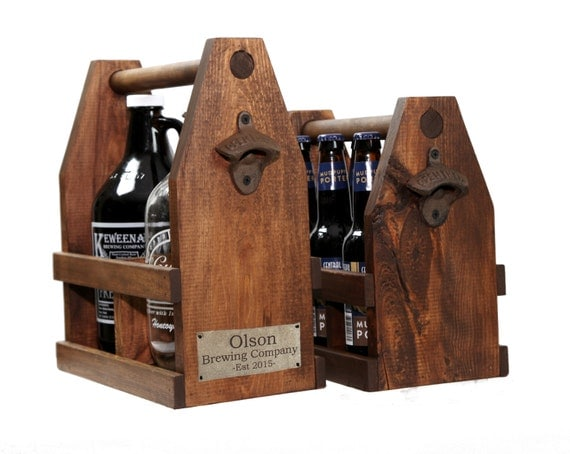 Wood Growler Beer Tote, Ready to Ship Craft Beer Double 64oz Caddy, Personalized Beer Caddy, Wooden Tote