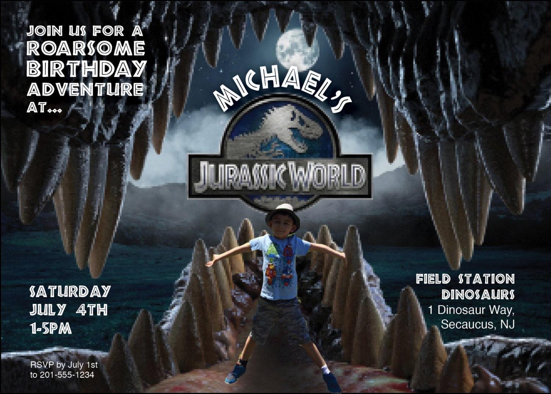 Jurassic World birthday invite Personalized with photo