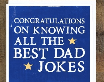 """Funny Father's Day Card """"Best Dad Jokes"""", Card for Dad"""