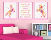 Always Be Yourself Unless You Can Be a Unicorn, Unicorn Art, Unicorn Print, Baby Girl Nursery, Nursery Wall Art, Girls Room Decor
