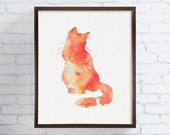 Orange Cat, Watercolor Cat, Cat Art Print, Cat Poster, Cat Wall Decor, Cat Wall Art, Cat Silhouette Print, Kids Room Decor, Cat Lover Gift