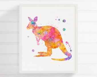 Watercolor Kangaroo, Kangaroo Print, Kangaroo Painting, Kangaroo Poster, Kangaroo Art, Nursery Wall Decor, Australian Animal, Colorful Art