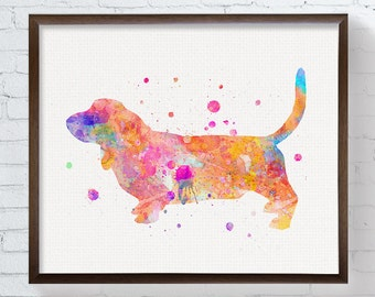 Watercolor Basset Hound, Basset Hound Art, Basset Hound Print, Basset Hound Painting, Dog Wall Art, Dog Lover Gift, Watercolor Art, Framed