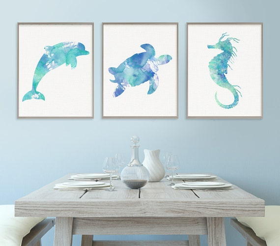 sea life art print nautical wall decor nautical nursery. Black Bedroom Furniture Sets. Home Design Ideas