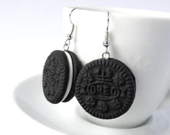 Oreo earrings dangle cookie charm polymer clay