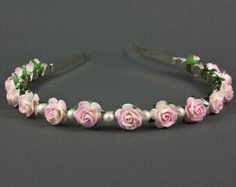 Pearl Rose Headband | Boho Wedding Headband | Tea Rose Wedding Headband |  Bohemian Wedding Hairband | Flower Girl Headband | Bridesmaid