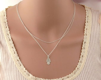 Double layered hamsa necklace ,hamsa necklace,Silver hamsa necklace, hand necklace , silver hamsa necklace ,2 layers hamsa necklace