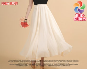 Beige Maxi Skirt with Elastic Waist - Bisque Maxi Skirt - Chiffon Maxi Skirt with Extra Wide Hem - Elastic Waist Skirt - Summer Skirt SK265