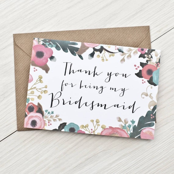 Thank you for being my bridesmaid/flower girl/maid of honour card - bridesmaid thank you card wedding