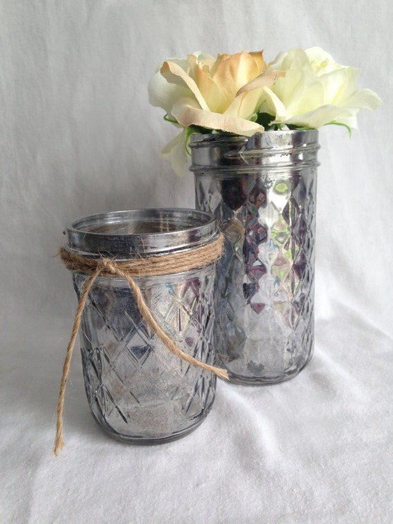 Mercury glass mason jar wedding centerpieces vases