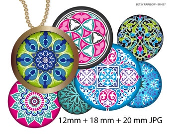 Mandalas images, 12 mm, 18 mm, 20 mm Digital Collage Sheet, Pendants Magnets Buttons, BR 437