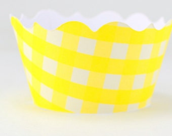 Yellow Gingham Cupcake Wrappers