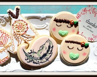 Custom Decorated Boho Baby Shower Sugar Cookies