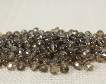 6mm Vintage Brown Faceted Glass Bead (40 Pieces)