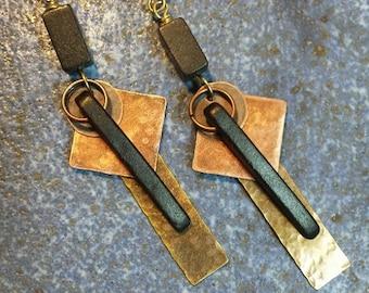Mixed Metal Earrings, Hammered Metal Earrings, Geometric Earrings, Dangle Earrings, Spike Earrings