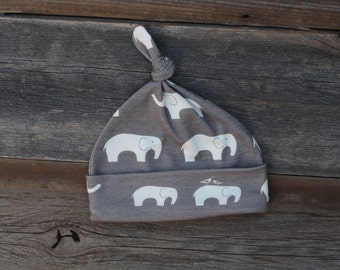 baby hat, organic knot hat, baby knotted hat, baby knot hat, knotted hat, grey elephant baby hat, organic cotton baby hat, newborn hat