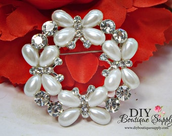 Butterfly Rhinestone Pearl Brooch - Bridal Wedding Brooch Bouquet Supply - Sash Pin Wedding Cake Brooch Pin 50mm 944110