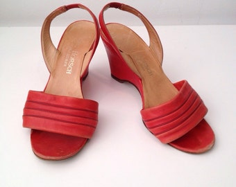 3 | 1960s Red Leather Wedges