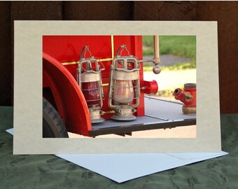 Old Time Light Greeting Card, RGTPhotos, Fire Truck lantern Photography Lanterns, Old Fire, Vintage, Rescue antique, Classic, Fire Fighter
