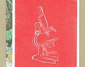 Microscope - Science Themed Blank Letterpress Card