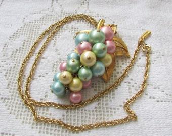 Vintage Park Lane pastel pearls cascade  brooch pin pendant