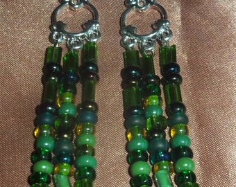 Jewelry, Earrings, Czech Glass Earrings, Chandelier Earrings, Boho Earrings, Green Earrings, Dangle Earrings, Drop Earrings, Boho Earrings