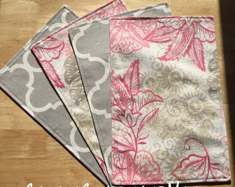 Reversible Pink Floral and Gray Placemats. Set of 4.