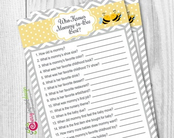 Who Knows Mommy to Bee Best - Bumble Bee Coed Family Bee - Yellow and Gray - INSTANT DOWNLOAD DIY Printable (Digital File Pdf)
