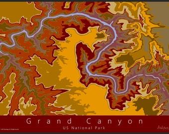 Grand Canyon Topo Map Art Us National Park Map Grand Canyon Topo Map