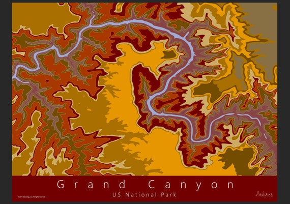 Grand Canyon Topo Map Art US National Park Map Grand - Topo map us