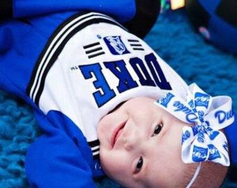 University of Duke Baby Girl Boutique Bow Elastic Headband