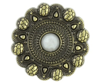 Metal Buttons - Snakeskin Style Flower Brass Metal Shank Buttons, With Pearl on Top - 25mm - 1 inch - 6 pcs