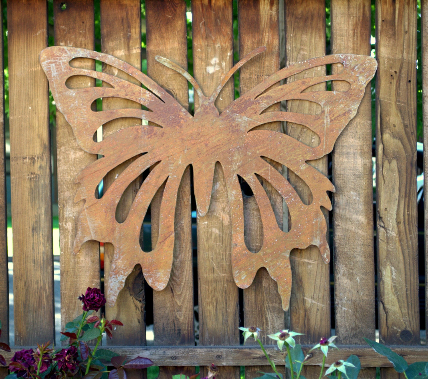 large butterfly metal wall art sculpture wall by oregardenworks. Black Bedroom Furniture Sets. Home Design Ideas