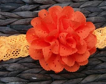 """RTS- 4"""" orange eyelet chiffon flower on orange silk headband"""