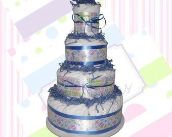 Boy Diaper Cake - Welcome Baby