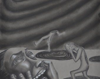 Trippy Charcoal Surrealism Spiral People Art Print 8 x 10 inch
