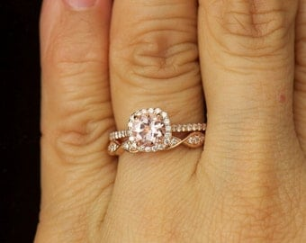 Kylie B & Phoebe Set - Morganite and Diamond Halo Engagement Ring and Diamond Wedding Band in Rose Gold, Free Shipping