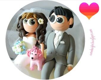 Wedding Cake Topper - CUSTOM cake topper, FUNNY cake topper, Wedding figurines, wedding topper, pink dog cake topper,dog wedding cake topper