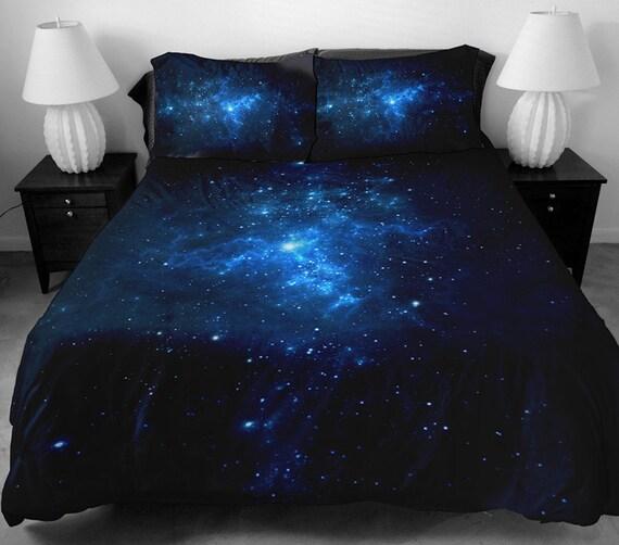 Dark Blue Galaxy Bedding Set Blue Galaxy Duvet Cover By