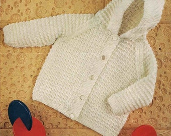 matinee coat with hood hoodie vintage knitting pattern PDF instant download