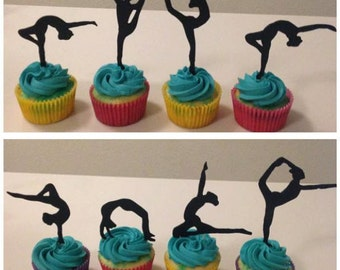 Fondant/Gumpaste Gymnast Silhoutte Cupcake Toppers