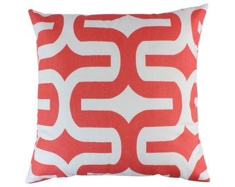 Coral Decorative Throw Pillow Covers Coral Couch Pillow Covers Sofa Pillow Covers Accent Zippered Pillow Coral and White Monogrammed Pillow